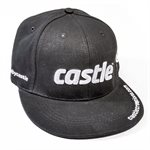 Black Flat Bill Hat with White Castle Logo
